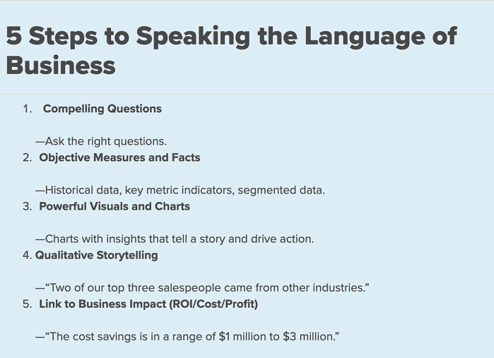 5 Steps to speaking the language of business